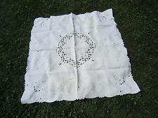 """Gorgeous MADEIRA Hand Embroidered  White 41"""" x 43""""  Floral COTTON TABLECLOTH"""