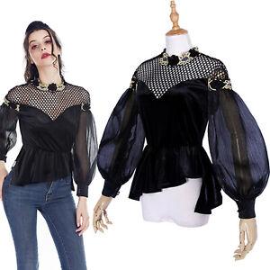 Women Gothic Lantern Sleeve Velet Blouse Mesh Hollow Top Shirt