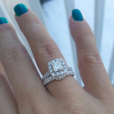 2.00 CT Natural Diamond Wedding Rings Fine Solid 14K White Gold Band Size M N P