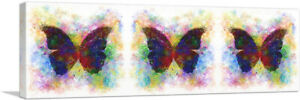 ARTCANVAS Three Black Dark Butterfly Wings Insect Panoramic Canvas Art Print