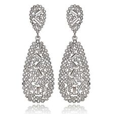 Elegant White Austrian Crystal Rhinestone Chandelier Dangle Earring Prom E116