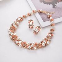 Women Bib Choker Charm Collar Crystal Chain Pendant Statement Necklace Flower