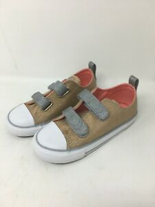 Converse Pale Gold Hook & Loop Closure Toddler Size 10