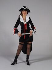 Ladies Black Pirate Musketeer Riding Jacket Tailcoat Fancy Dress Size 16-18