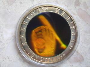 Africa Liberia 10 Dollars 2002 Baseball Bat Holographic colour coin 40 mm 3-D