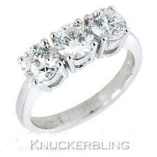 Diamond Trilogy Ring 1.50ct Brilliant Cut F VS Solid 18ct White Gold Three Stone