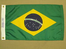 "Brazil Green Yellow Blue Indoor Outdoor Dyed Nylon Boat Flag Grommets 12"" X 18"""