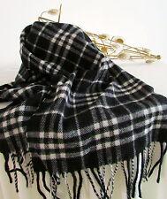 bufanda lana, bufanda de invierno negro/Blanco 100% Lana