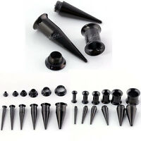 2 IN 1 Kit Set Black Steel Ear Taper Stretcher Tunnels Plugs Expander Gauges HOT