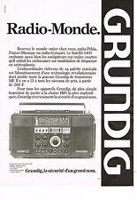 PUBLICITE ADVERTISING 114  1979  GRUNDIG  raio- monde en FM  transistor SATELLIT