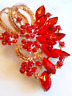 RED CRYSTAL BROOCH!Faceted Rhinestone Floral Motif Pin.Yellow Gold Tone Setting.