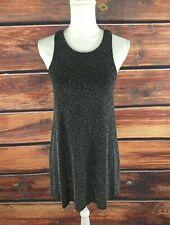 "Vestique Party Dress 7""0 Sleeveless Black Silver Mini Keyhole Back & Lined SMALL"