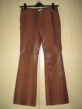 "ladies NEXT BROWN LEATHER TROUSERS UK SIZE 10 WAIST - 29"" LEG"