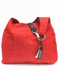 River Island Suede Orange Croc Cross Body Shoulder Bucket Shopper Tote Bag £55