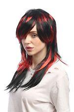 Perücke Damen Halloween Schwarz Rot gesträhnt lang glatt Teufelin Hexe Emo Goth