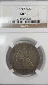 1871-S Seated Liberty half dollar NGC AU55