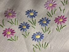 Pretty Vintage Hand Embroidered Medium Square Cream Irish Linen Tablecloth VGC