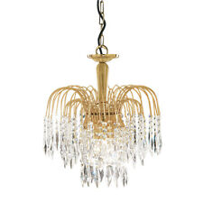 Searchlight 38cm 3 Light Crystal Waterfall Gold Plated Finish Ceiling Pendant