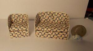 Dollhouse Miniature Sofa Chair Stars 1:24 Half scale 1/2  H151 Dollys Gallery