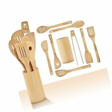 CHEFHQ Wooden Kitchen Utensils Set - 9 Piece Bamboo Cooking Tools and Holder