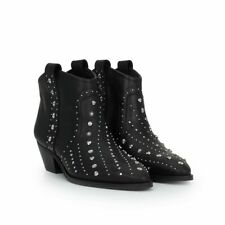 02460ac1d SAM EDELMAN BRIAN BLACK LEATHER STUDDED WESTERN ANKLE BOOTS 8.5 NEW