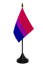 Bisexual Bi Pride Desk Table Top Flag with Plastic Stand and Base