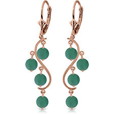 4 Carat 14K Solid Rose Gold Chandelier Earrings Natural Emerald