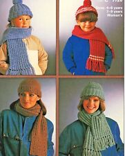 112 Chunky Caps & Scarves Knitting Pattern Only, Lady Girls