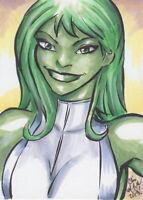 She-Hulk 2 Original Sketch Card Painting by Chris McJunkin