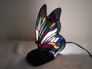 Stained Glass Butterfly Desk Light Tiffany Table Light With Brass Base