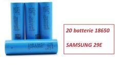 20 Batterie ricaricabili Litio SAMSUNG INR 18650 29E  2900 mAh 3,6V  8,25A