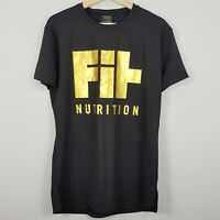 MUSCLE NATION   Womens Black Print Fit Nutrition Top  [ Size L or AU 14 / US 10]