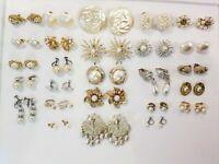 Vintage Mod Pearl Clip Earrings Lot Crown Trifari Lisner Kramer Emmons SC 12kgf