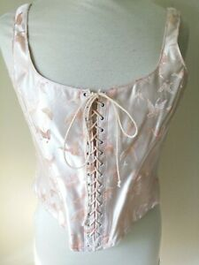 Gigi clarke Corset Peach Butterfly front lace up back hook and eye womens 4 Smal