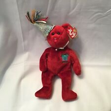 Ty Beanie Baby Birthday Bear Red July 2002 With Tag Pellets