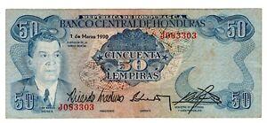 Honduras P-66c  50 Lempiras 1 de Marzo de 1990 Nice Banknote