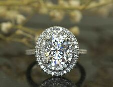 5.11Ct Oval Cut Diamond Accent Double Halo Engagement Ring 14K White Gold Finish