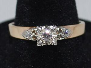 14K Yellow Gold Birks Diamond Ring With The Diamonds Set In 18K White Gold