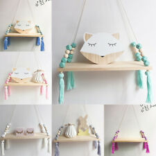 Nordic Style Tassel Bead Wooden Storage Hanging Shelf Wall Decoration kids Room