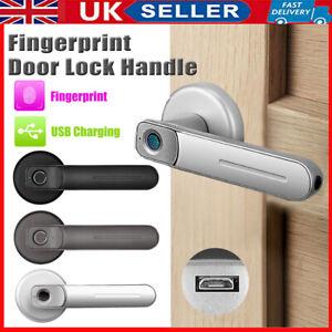 Security Electronic Smart Door Handle Lock Fingerprint Biometric Password 2 Keys