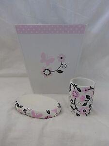 3 pc Tiddliwinks Pink & Black Floral Tumbler, Soap Dish & Wastebasket Set NIP