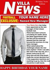 A5 Personalised Villa  Football Manager News PIDH1 Greeting Birthday