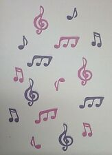 *MUSIC NOTES*. Die-cuts x 16 ~  PURPLE & PINK ..GREAT FOR SCRAPBOOKING/CARDS