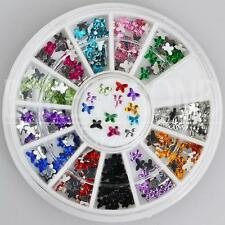 300pc Rhinestone 3D Nail Art Fashion Diamante Glitter Gem Multi Colour Butterfly