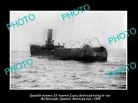 OLD 8x6 HISTORIC PHOTO SPANISH AMERICAN WAR c1898 SS ANTONIO LOPEZ DESTROYED