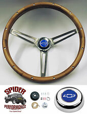 "1957 Bel Air 210 150 steering wheel BLUE BOWTIE 15"" MUSCLE CAR WALNUT wheel"