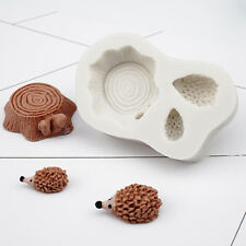 3D Hedgehog Stump Silicone Fondant Cake Topper Mould Sugarcraft Decorating Mold
