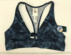 Victorias Secret PINK Ultimate Blue Snake Skin Sports Bra Size S Padded Twisted