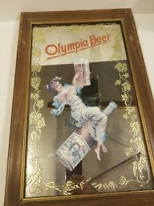 1973 Vintage Olympia Beer Pale Export Etched Mirror Bar Sign Capital Brewing
