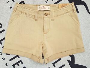New Women's HOLLISTER Low-Rise Twill Midi Shorts Size 00 W 23 Khaki